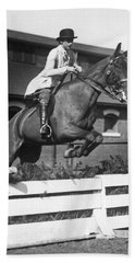 Rider Jumps At Horse Show Beach Towel