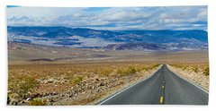 Road Passing Through A Desert, Death Beach Towel by Panoramic Images