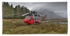 Royal Navy Sar Sea King Xz920 Glencoe Beach Sheet by Gary Eason