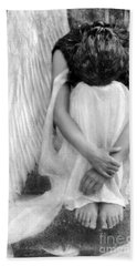 Sad Angel Woman Beach Towel by Jill Battaglia
