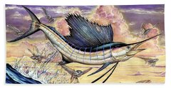 Sailfish And Flying Fish In The Sunset Beach Towel