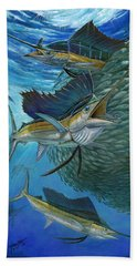 Sailfish With A Ball Of Bait Beach Towel