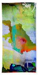 San Jose Map And Skyline Beach Sheet by Marvin Blaine