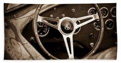 Shelby Ac Cobra Steering Wheel Emblem Beach Towel