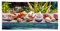 Beach Towel featuring the photograph Shell Collection by Annie Zeno