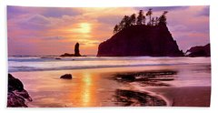 Silhouette Of Sea Stacks At Sunset Beach Towel