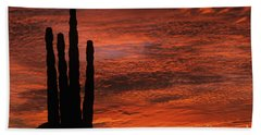 Silhouetted Saguaro Cactus Sunset At Dusk With Dramatic Clouds Beach Sheet