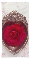 Silver Heart - Red Camellia Beach Sheet by Cindy Garber Iverson