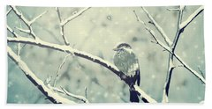 Sparrow On The Snowy Branch Beach Sheet