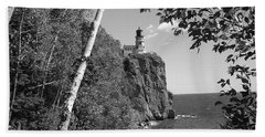 Split Rock Black And White Beach Towel by Bonfire Photography