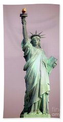Statue Of Liberty Beach Sheet by Ed Weidman