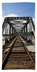 Steel Railway Bridge Over The River Beach Towel