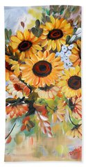 Beach Towel featuring the painting Sunflowers by Dorothy Maier