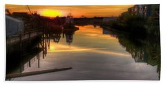 Sunrise On The Petaluma River Beach Sheet by Bill Gallagher