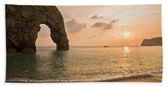 Sunset At Durdle Door Beach Sheet