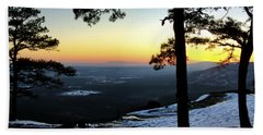 Sunset Atop Snowy Mt. Nebo Beach Sheet by Jason Politte