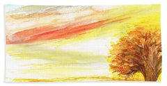 Beach Sheet featuring the painting Sunset by Teresa White