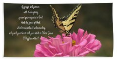 Swallowtail On A Zinnia Beach Sheet by Debby Pueschel