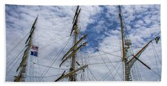 Tall Ship Three Mast  Beach Towel by Dale Powell