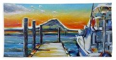 Beach Towel featuring the painting Tauranga Marina 180412 by Selena Boron