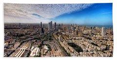 Beach Towel featuring the photograph Tel Aviv Skyline by Ron Shoshani
