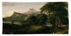 The Course Of Empire The Arcadian Or Pastoral State Beach Towel