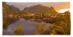 Beach Towel featuring the photograph The Day Begins In Reine by Heiko Koehrer-Wagner