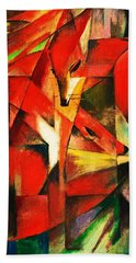 Beach Towel featuring the painting The Foxes by Franz Marc