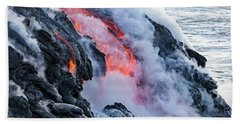 The Pahoehoe Lava Flowing From Kilauea Beach Towel