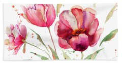 Three Tulips Flowers  Beach Towel