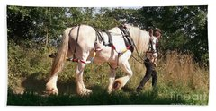 Tiverton Barge Horse Beach Towel by John Williams