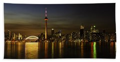 Toronto Evening Sky Line Panorama Beach Sheet