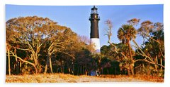 Trees Around A Lighthouse, Hunting Beach Towel