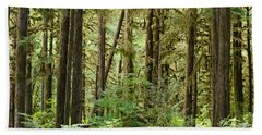 Trees In A Forest, Quinault Rainforest Beach Towel