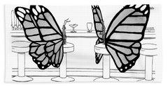 Two Butterflies Talking In A Bar Beach Towel