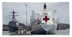 Us Naval Hospital Ship Comfort Beach Sheet