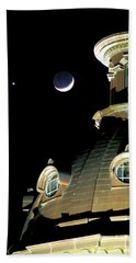 Venus And Crescent Moon-1 Beach Towel