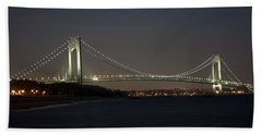 1 Verrazano Narrows Bridge At Twilight Beach Sheet