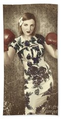 Vintage Boxing Pinup Poster Girl. Retro Fight Club Beach Towel