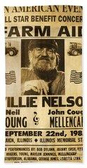 Vintage Willie Nelson 1985 Farm Aid Poster Beach Sheet by John Stephens