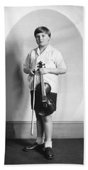 Violinist Yehudi Menuhin Beach Towel by Underwood Archives