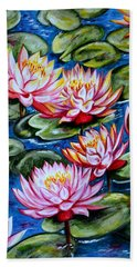 Beach Towel featuring the painting Water Lilies by Harsh Malik
