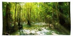 Waterfall In Rainforest Beach Towel
