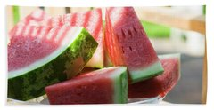 Watermelon Wedges In A Bowl Of Ice Cubes Beach Towel