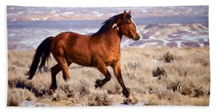 Eagle - Wild Horse Stallion Beach Towel by Nadja Rider