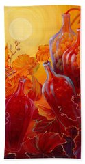 Beach Towel featuring the painting Wine On The Vine II by Sandi Whetzel