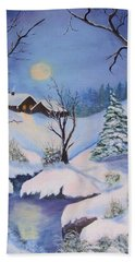 winter Moon Beach Towel by Catherine Swerediuk