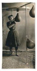 Woman Boxing Workout Beach Sheet