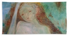 Beach Towel featuring the painting Woman Of Sorrows by Laurie Lundquist