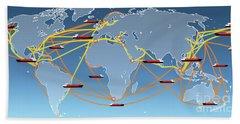 World Shipping Routes Map Beach Sheet